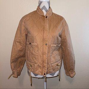 NWOT Joie Wavy Quilted Camel Tan Bomber Zipper Jacket Medium